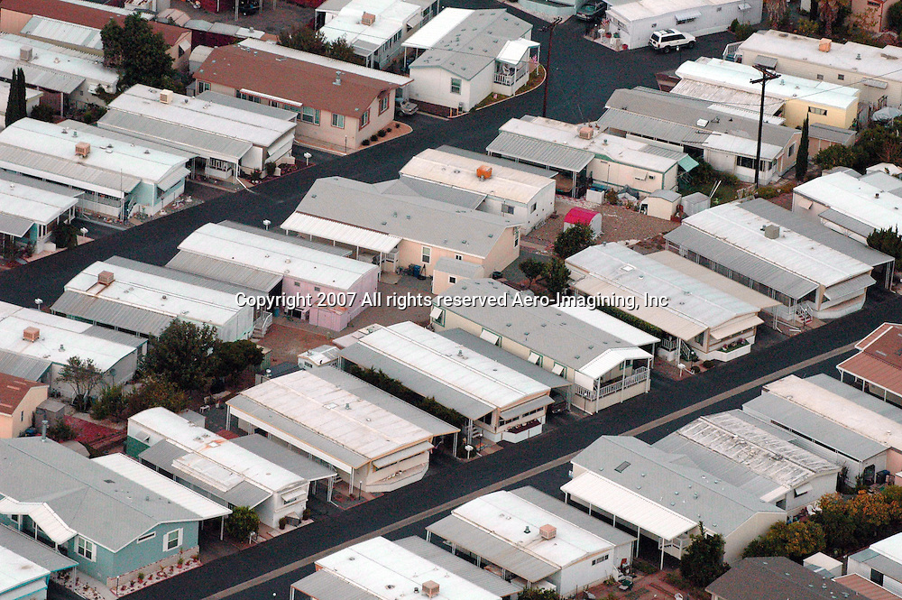 Aerial photograph of Mobile Home Park,  neighborhood, housing developments, DRONE VIEW OF HOUSES