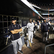 Didi Gregorius, New York Yankees, in the dugout preparing to bat during the New York Mets Vs New York Yankees MLB regular season baseball game at Citi Field, Queens, New York. USA. 20th September 2015. Photo Tim Clayton