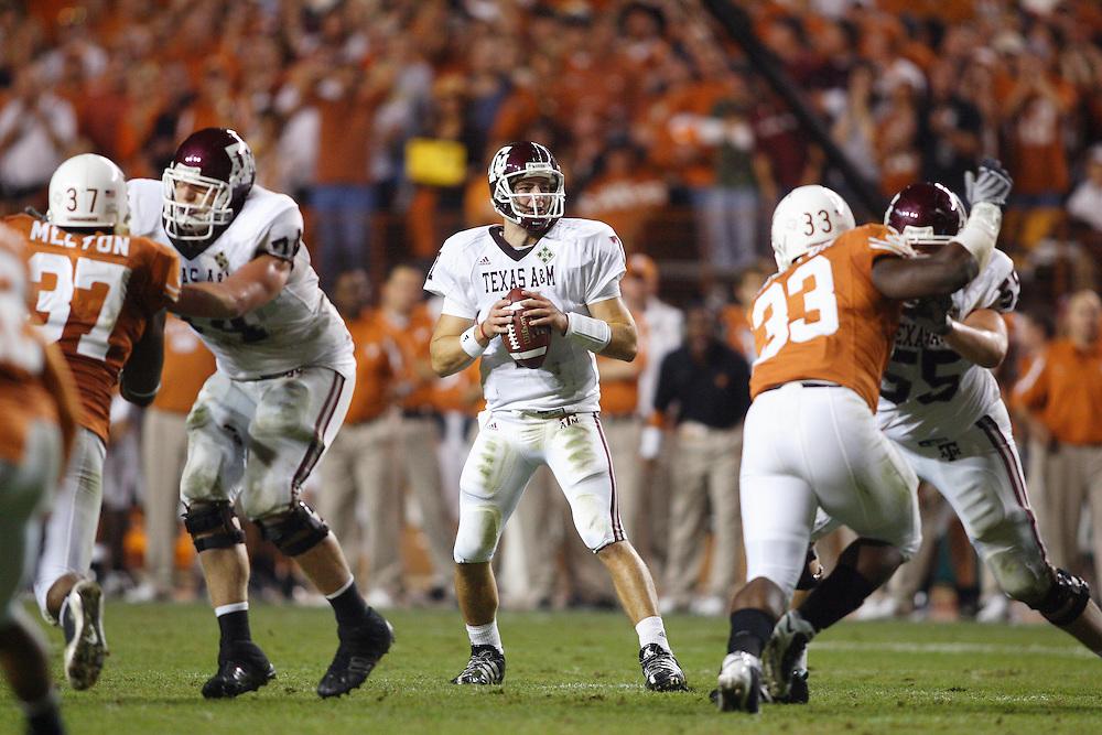 Stephen McGee, quarterback, Texas A&M Aggies. Texas A&M at Texas. Darrell K. Royal-Texas Memorial Stadium, Austin, TX. Thursday November 27, 2008. Photograph © 2008 Darren Carroll.