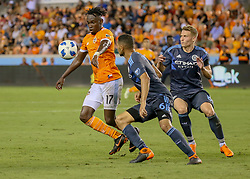 May 25, 2018 - Houston, TX, U.S. - HOUSTON, TX - MAY 25:  Houston Dynamo forward Alberth Elis (17) traps the ball during the MLS match between the New York FC and Houston Dynamo on May 25, 2018 at BBVA Compass Stadium in Houston, Texas.  (Photo by Leslie Plaza Johnson/Icon Sportswire) (Credit Image: © Leslie Plaza Johnson/Icon SMI via ZUMA Press)