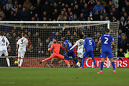 Sol Bamba of Cardiff city (14) beats Hull city goalkeeper Alan McGregor and scores his teams 1st goal to make it 1-0. EFL Skybet championship match, Cardiff city v Hull city at the Cardiff city stadium in Cardiff, South Wales on Saturday 16th December 2017.<br /> pic by Andrew Orchard, Andrew Orchard sports photography.