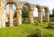 Historic village parish church of Saint Bartholomew, Orford, Suffolk, England, UK ruins of Norman chancel