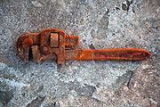 Thoroughly rusted forgotten pipe wrench. Zawady Poland