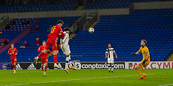 CARDIFF, WALES - Wednesday, November 18, 2020: Wales' Kieffer Moore scores the third goal with a header during the UEFA Nations League Group Stage League B Group 4 match between Wales and Finland at the Cardiff City Stadium. Wales won 3-1 and finished top of Group 4, winning promotion to League A. (Pic by David Rawcliffe/Propaganda)