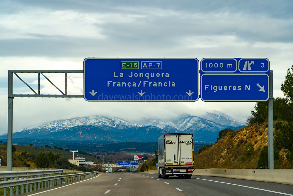 On the AP7/E15 Motorway between Spain and France, January 2021. When these photographs were taken, a huge build of thousands of heavy goods vehicles - trucks - was taking place in Catalonia. Most trucks were prohibited from moving due to severe winds and snow on this section of European route E15.