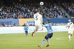 March 11, 2018 - New York, New York, United States - Daniel Steres (5) of LA Galaxy controls ball during regular MLS game against NYC FC at Yankee stadium NYC FC won 2 - 1  (Credit Image: © Lev Radin/Pacific Press via ZUMA Wire)