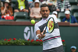 March 9, 2019 - Indian Wells, CA, U.S. - INDIAN WELLS, CA - MARCH 09: Nick Kyrgios (AUS) hits a backhand during the BNP Paribas Open on March 9, 2019 at Indian Wells Tennis Garden in Indian Wells, CA. (Photo by George Walker/Icon Sportswire) (Credit Image: © George Walker/Icon SMI via ZUMA Press)