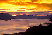 Best-selection-of-photo-decor-online-by-Randy-Wells-travel-photographer-videographer, Image of the Crown Point Vista House overlooking the Columbia River Gorge at sunrise, Oregon, Pacific Northwest
