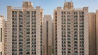 Aerial view of multistoreys buildings of ATS society in day light, Indrapuram, Delhi ncr, India.