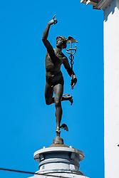 Hermes messenger of the gods atop of the former Sheffield telegraph and star office building York Street Sheffield<br /> <br /> 24 April 2020<br /> <br /> www.pauldaviddrabble.co.uk<br /> All Images Copyright Paul David Drabble - <br /> All rights Reserved - <br /> Moral Rights Asserted -