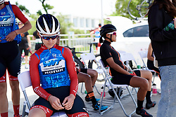 Lea Lin Teutenberg (GER) waits in the shade at Tour of Chongming Island 2019 - Stage 1, a 102.7 km road race on Chongming Island, China on May 9, 2019. Photo by Sean Robinson/velofocus.com