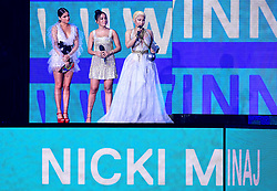 Nicki Minaj collects her Best Hip Hop award on stage at the MTV Europe Music Awards 2018 held at the Bilbao Exhibition Centre, Spain.