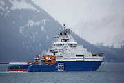 Alviq is an American icebreaking anchor handling tug supply vessel (AHTS) owned by Edison Chouest Offshore (ECO).  Photo taken in Resurrection Bay, Seward, Alaska.