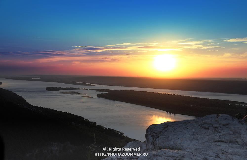 "Sunset over Volga river in Russian National Park ""Samara Luka"""