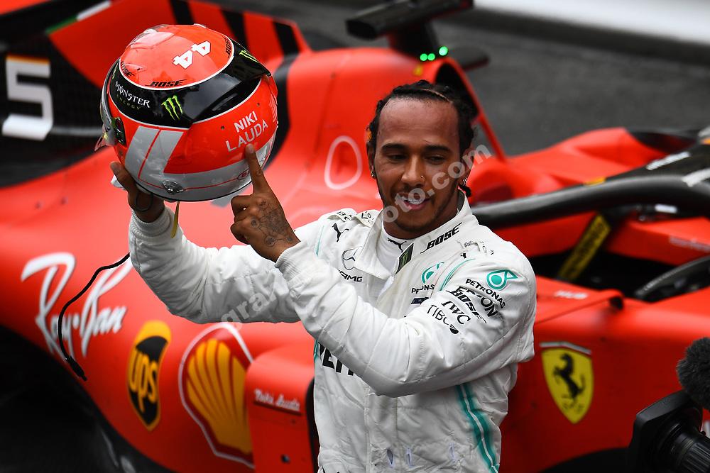 Lewis Hamilton (Mercedes) with his Nki Lauda helmet after the 2019 Monaco Grand Prix. Photo: Grand Prix Photo