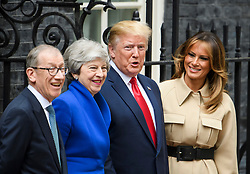 © Licensed to London News Pictures. 04/06/2019. London, UK. President of the United States of America, DONALD TRUMP and First Lady MELANIA TRUMP are greeted at 10 Downing Street by British Prime Minister THERESA MAY and her husband PHILIP MAY, on day two of a state visit to the UK. Photo credit: Ben Cawthra/LNP
