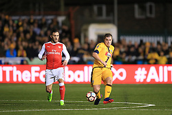 20 February 2017 - The FA Cup - (5th Round) - Sutton United v Arsenal - Jamie Collins of Sutton United in action with Lucas of Arsenal - Photo: Marc Atkins / Offside.