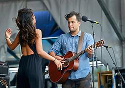 02 May 2014. New Orleans, Louisiana.<br /> Amanda Sudano and Abner Ramirez of Jonnyswim at the New Orleans Jazz and Heritage Festival. <br /> Photo; Charlie Varley/varleypix.com