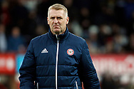 Brentford Manager Dean Smith walks to the dugout . EFL Skybet football league championship match, Brentford v Sheffield Wednesday at Griffin Park in London on Saturday 30th December 2017.<br /> pic by Steffan Bowen, Andrew Orchard sports photography.