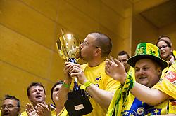 Supporters of Celje celebrate after winning during handball match between RK Celje Pivovarna Lasko and RD Koper 2013 in Final of Slovenian Men Handball Cup 2015/16, on April 17, 2016 in Ribnica, Slovenia. Photo by Vid Ponikvar / Sportida
