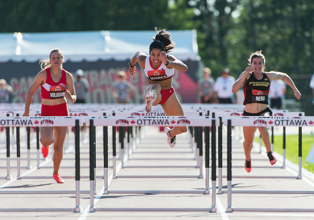 OTTAWA - JULY 08: Ashlea Maddex competes in the Women's 110m hurdles semi-final during the 2017 Canadian Track and Field Championships at the Terry Fox Athletic Facility in Ottawa, ON., Canada on July 7, 2017.<br /> <br /> Photo: Steve Kingsman for Sports Ottawa/Ottawa Sportspage