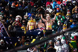 February 12, 2018 - Pyeongchang, SOUTH KOREA - 180212 Fans of Australia competes in the men's moguls final during day three of the 2018 Winter Olympics on February 12, 2018 in Pyeongchang..Photo: Carl Sandin / BILDBYRÃ…N / kod CS / 57999_286 (Credit Image: © Carl Sandin/Bildbyran via ZUMA Press)