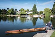 "Maidenhead, United Kingdom.  Maneuvering the punt for mooring. ""Thames Punting Club Regatta"", Bray Reach.<br /> 08:53:31 Sunday  06/08/2017<br /> <br /> [Mandatory Credit. Peter SPURRIER Intersport Images}.<br /> <br /> LEICA Q (Typ 116) 28mm  f1.7   1/3200 /sec    100 ISO River Thames, .......... Summer, Sport, Sunny, Bright, Blue Skies, Skilful,"