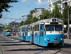 View of tram on Avenyn street of Gothenburg in Sweden Scandinavia