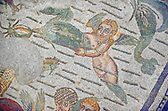 Cupid and a dolphin Roman mosaic from the Room of the Fishing Cupids no 24, at the Villa Romana del Casale which containis the richest, largest and most complex collection of Roman mosaics in the world, circa the first quarter of the 4th century AD. Sicily, Italy. A UNESCO World Heritage Site. .<br /> <br /> If you prefer to buy from our ALAMY PHOTO LIBRARY  Collection visit : https://www.alamy.com/portfolio/paul-williams-funkystock/villaromanadelcasale.html<br /> Visit our ROMAN MOSAICS PHOTO COLLECTIONS for more photos to buy as buy as wall art prints https://funkystock.photoshelter.com/gallery/Roman-Mosaics-Roman-Mosaic-Pictures-Photos-and-Images-Fotos/G00008dLtP71H_yc/C0000q_tZnliJD08
