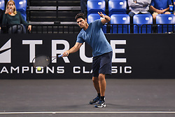 October 4, 2018 - St. Louis, Missouri, U.S - MARK PHILLIPPOUSSIS returns the ball during warm-ups during the Invest Series True Champions Classic on Thursday, October 4, 2018, held at The Chaifetz Arena in St. Louis, MO (Photo credit Richard Ulreich / ZUMA Press) (Credit Image: © Richard Ulreich/ZUMA Wire)
