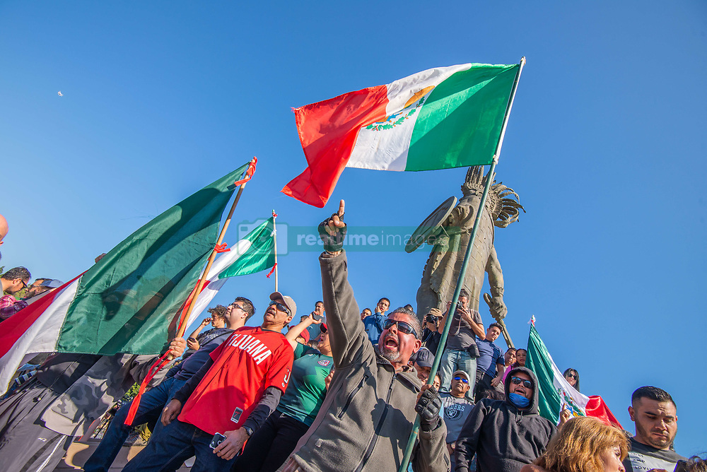 November 18, 2018 - In Tijuana, Mexico, demonstrators gathered at Glorieta Cuauhtémoc  to protest the arrival of thousands of .asylum seekers from Central America, aka the ''MIgrant Caravan'' on November 18,2018. (Credit Image: © Vito Di Stefano/ZUMA Wire)
