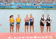 Eton Dorney, Windsor, Great Britain,..2012 London Olympic Regatta, Dorney Lake. Eton Rowing Centre, Berkshire[ Rowing]...Description;   Women's Pair, medals presentation  .Gold Medalist and Centre. GBR W2- Helen GLOVER (b) , Heather STANNING (s).Silver Medalist and Left. AUS.W2- Kate HORNSEY (b) , Sarah TAIT (s).Bronze Medalist and right.  NZL W2- Juliette HAIGH (b) , Rebecca SCOWN (s)  Dorney Lake. 12:22:42  Wednesday  01/08/2012.  [Mandatory Credit: Peter Spurrier/Intersport Images].Dorney Lake, Eton, Great Britain...Venue, Rowing, 2012 London Olympic Regatta...