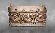 """Picture of Roman relief sculpted Sarcophagus of Garlands, 2nd century AD, Perge. This type of sarcophagus is described as a """"Pamphylia Type Sarcophagus"""". It is known that these sarcophagi garlanded tombs originated in Perge and manufactured in the sculptural workshops of Perge. Antalya Archaeology Museum, Turkey. .<br /> <br /> If you prefer to buy from our ALAMY STOCK LIBRARY page at https://www.alamy.com/portfolio/paul-williams-funkystock/greco-roman-sculptures.html . Type -    Antalya    - into LOWER SEARCH WITHIN GALLERY box - Refine search by adding a subject, place, background colour, etc.<br /> <br /> Visit our ROMAN WORLD PHOTO COLLECTIONS for more photos to download or buy as wall art prints https://funkystock.photoshelter.com/gallery-collection/The-Romans-Art-Artefacts-Antiquities-Historic-Sites-Pictures-Images/C0000r2uLJJo9_s0"""