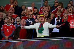 CARDIFF, WALES - Monday, October 9, 2017: Wales supporters sing the national anthem before the 2018 FIFA World Cup Qualifying Group D match between Wales and Republic of Ireland at the Cardiff City Stadium. (Pic by Paul Greenwood/Propaganda)