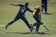 Tim Bresnan (Yorkshire CCC) and Keaton Jennings (Durham CCC) collide as the Durham County Cricket Club player takes a run during the Royal London 1 Day Cup match between Yorkshire County Cricket Club and Durham County Cricket Club at Headingley Stadium, Headingley, United Kingdom on 3 May 2017. Photo by Mark P Doherty.