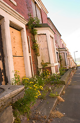 Boarded up terraced housing in Newcastle's West End, Houses due to be demolished for redevelopment UK 2004