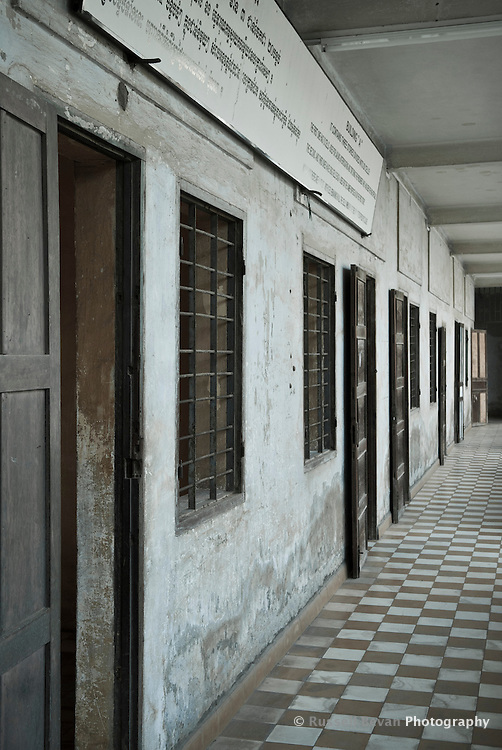 Exterior of Building A VIP cells at Tuol Sleng Genocide Museum in Phnom Penh, Cambodia