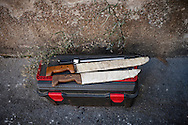 Knives and some other butchering tools in traditional way pig slaughtering.  Doneztebe (Basque Country). December 08. 2016. The slaughter traditionally takes place in the autum and early winter and the work often is done in the open. (Gari Garaialde / Bostok Photo)
