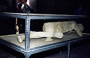 Plaster cast of dead person at the archaeological site of Roman Pompeii, Italy 1999
