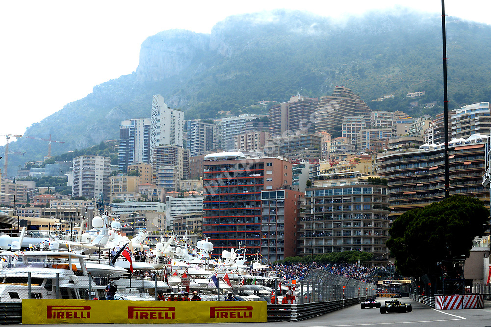 Nico Hulkenberg (Renault) in front of city scene during practice before the 2019 Monaco Grand Prix. Photo: Grand Prix Photo