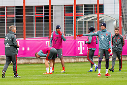 14.03.2019, Säbener Strasse, Muenchen, GER, 1. FBL, FC Bayern Muenchen vs 1. FSV Mainz 05, Training, im Bild v.l. CO Trainer Perter Hermann (FC Bayern), Joshua Kimmich (FC Bayern), Jerome Boateng (FC Bayern), Alphonso Davies (FC Bayern), Thomas Müller (FC Bayern), CO Trainer Robert Kovac (FC Bayern) // during a trainings session before the German Bundesliga 26th round match between FC Bayern Muenchen and 1. FSV Mainz 05 at the Säbener Strasse in Muenchen, Germany on 2019/03/14. EXPA Pictures © 2019, PhotoCredit: EXPA/ Lukas Huter