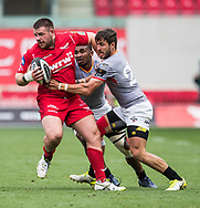Scarlets' Rob Evans is tackled by Southern Kings' Jacques Nel ®.<br /> Guinness Pro14 rugby match, Scarlets v Southern Kings at the Parc y Scarlets in Llanelli, Carms, Wales on Saturday 2nd September 2017.<br /> pic by Craig Thomas, Andrew Orchard sports photography.