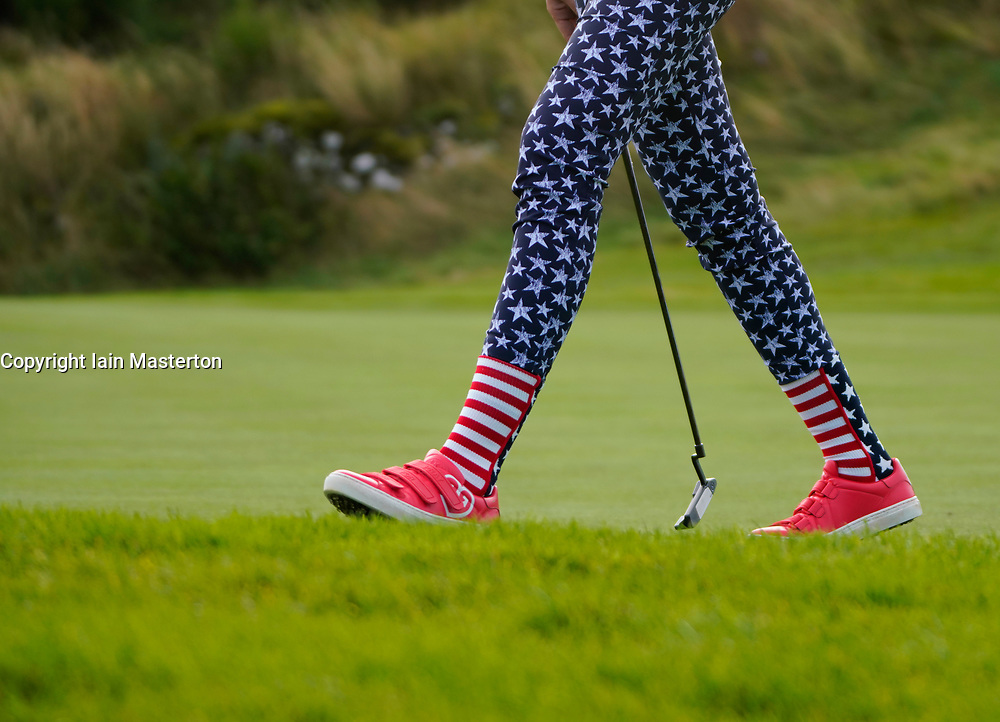 Auchterarder, Scotland, UK. 15 September 2019. Sunday Singles matches on final day  at 2019 Solheim Cup on Centenary Course at Gleneagles. Pictured; Detail of socks and trousers of Nelly Korda of Team USA. Iain Masterton/Alamy Live News
