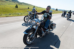Mailman - Kevin O'Brian on Aiden's Ride, dedicated to help raise awareness for ALD after Bobby Seeger Jr. of Indian Larry Motorcycles' son passed away from the disease, during the 75th Annual Sturgis Black Hills Motorcycle Rally.  SD, USA.  August 6, 2015.  Photography ©2015 Michael Lichter.