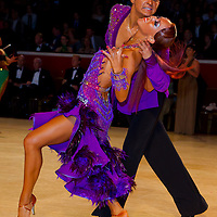 Andrei Kazlouski and Kate Kapshandy from the USA perform their dance during the amateur latin-american competition of the International Championships whose final rounds are held in Royal Albert Hall, London, United Kingdom. Thursday, 13. October 2011. ATTILA VOLGYI