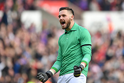 February 23, 2019 - Stoke On Trent, England, United Kingdom - Jack Butland (1) of Stoke City wearing a replica Gordon Banks shirt in memory of the former Stoke City goalkeeper, celebrates after shis side score a goal during the Sky Bet Championship match between Stoke City and Aston Villa at the Britannia Stadium, Stoke-on-Trent on Saturday 23rd February 2019. (Credit Image: © Mi News/NurPhoto via ZUMA Press)