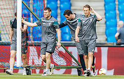 17.05.2016, St. Jakob Park, Basel, SUI, UEFA EL, FC Liverpool vs Sevilla FC, Finale, im Bild Coutinho (FC Liverpool), Danny Ward (FC Liverpool), Lucas Leiva (FC Liverpool) // Coutinho (FC Liverpool), Danny Ward (FC Liverpool), Lucas Leiva (FC Liverpool) during the Training in front of the Final Match of the UEFA Europaleague between FC Liverpool and Sevilla FC at the St. Jakob Park Stadium in Basel, Switzerland on 2016/05/17. EXPA Pictures © 2016, PhotoCredit: EXPA/ JFK