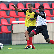 Galatasaray's players Felipe MELO (L) during their training session at the Jupp Derwall training center in Istanbul Turkey on Thursday,  August 20, 2011. Photo by TURKPIX