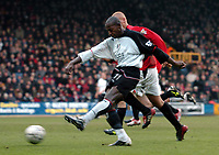 Picture: Henry Browne.<br /> Date: 28/02/2004.<br /> Fulham v Manchester United FA Barclaycard Premiership.<br /> <br /> Louis Boa Morte fires in the equaliser for Fulham.<br /> <br /> NORWAY ONLY