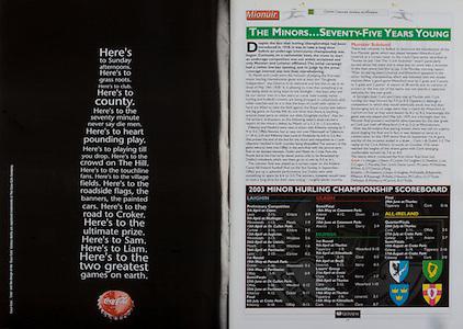 All Ireland Senior Hurling Championship - Final,.14092003AISHCF,.14.09.2003, 09.14.2003, 9th September 2003,.Senior Kilkenny 1-14, Cork 1-11,.Minor Kilkenny 2-16, Galway 2-15,.Coca Cola,
